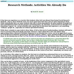 Research Methods: Activities We Already Do