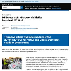 DFID research: Microwork initiative launched: M2Work