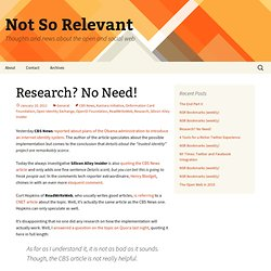 Research? No Need! | Not So Relevant