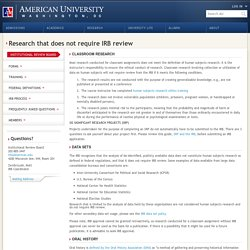 Research not requiring IRB Review