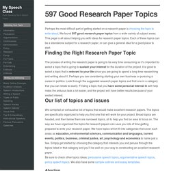 597 Good Research Paper Topics