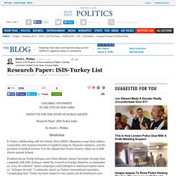 Research Paper: List of ISIS-Turkey links