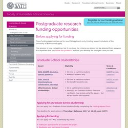Research postgraduate funding