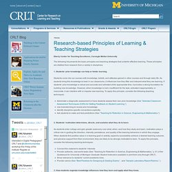 Research-based Principles of Learning & Teaching Strategies
