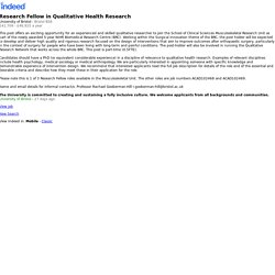 Research Fellow in Qualitative Health Research - Bristol BS8 - Indeed Mobile
