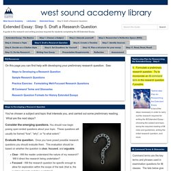 Step 5. Draft a Research Question - Extended Essay - LibGuides at West Sound Academy