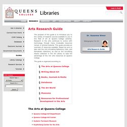 Arts Research Guide - Rosenthal Library, Queens College, CUNY