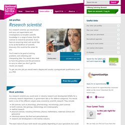 Research scientist Job Information
