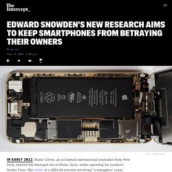 Edward Snowden's New Research Aims to Keep Smartphones From Betraying Their Owners