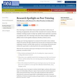 Research Spotlight on Peer Tutoring