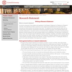 Research Statement | Cornell Post-Doctorate