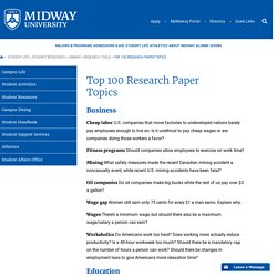 Top 100 Research Paper Topics - Midway University