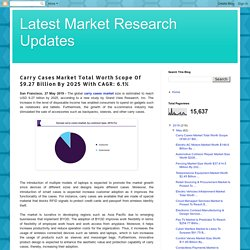 Latest Market Research Updates: Carry Cases Market Total Worth Scope Of $9.27 Billion By 2025 With CAGR: 6.1%