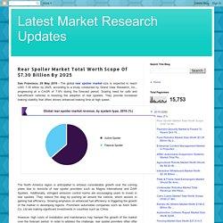 Latest Market Research Updates: Rear Spoiler Market Total Worth Scope Of $7.30 Billion By 2025