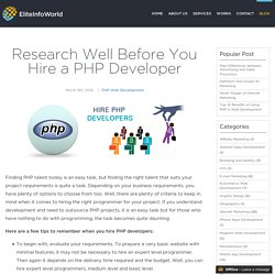 Research Well Before You Hire a PHP Developer
