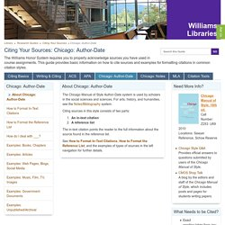 Chicago: Author-Date - Citing Your Sources - Research Guides at Williams College Libraries