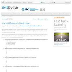 Market Research Worksheet