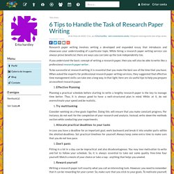 6 Tips to Handle the Task of Research Paper Writing - Erka hardley
