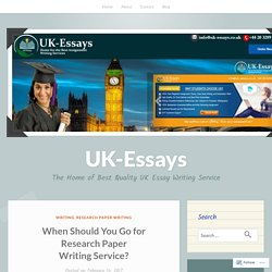 When Should You Go for Research Paper Writing Service?