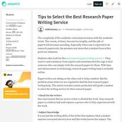 Tips to Select the Best Research Paper Writing Service