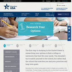 Research Your Options for U.S. Study