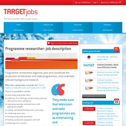 Programme researcher: job description
