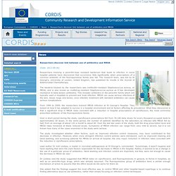 EMA 26/09/12 Researchers discover link between use of antibiotics and MRSA
