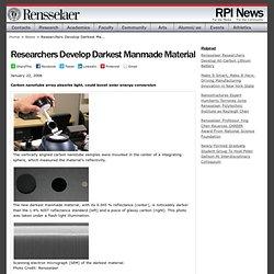 News & Events - Researchers Develop Darkest Manmade Material