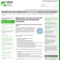 Researchers: how you can use the Vitae Researcher Development Framework
