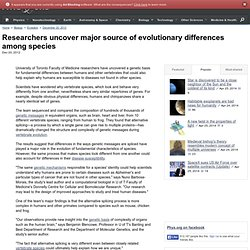 Researchers uncover major source of evolutionary differences among species