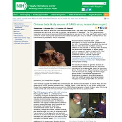 NIH_GOV - OCT 2013 - Chinese bats likely source of SARS virus, researchers report