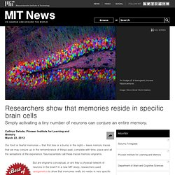 Researchers show that memories reside in specific brain cells