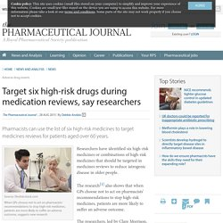 Target six high-risk drugs during medication reviews, say researchers