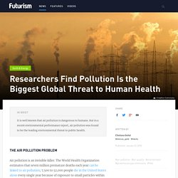 Researchers Find Pollution Is the Biggest Global Threat to Human Health
