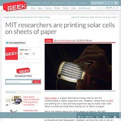 MIT researchers are printing solar cells on sheets of paper – Computer Chips & Hardware Technology