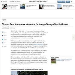 Researchers Announce Advance in Image-Recognition Software