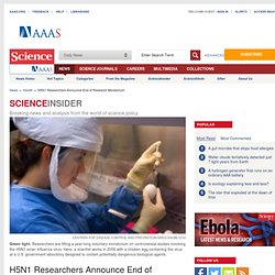 H5N1 Researchers Announce End of Research Moratorium