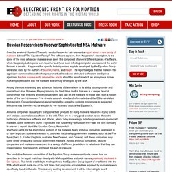 Russian Researchers Uncover Sophisticated NSA Malware