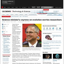Science minister's coyness on evolution worries researchers - Technology & Science