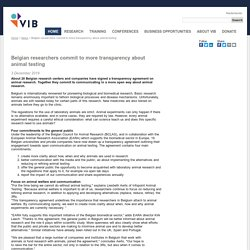 VIB_BE 03/12/19 Belgian researchers commit to more transparency about animal testing
