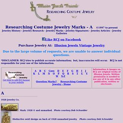 "Researching Costume Jewelry History Jewelry marks ""A"""