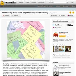 Writing a research paper quickly