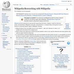 Researching with Wikipedia