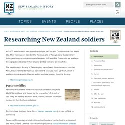 Researching New Zealand soldiers in the First World War - Researching New Zealand soldiers