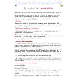 Réseau CA - La reformulation