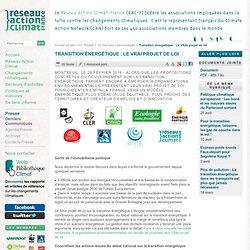 Transition énergétique: Le VRAI projet de loi