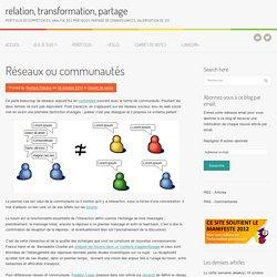 Réseaux ou communautés/ relation, transformation, partage
