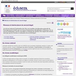 Réseaux et interlocuteurs du second degré - Acteurs nationaux et académiques du second degré