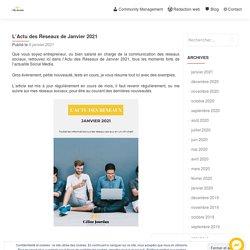 L'Actu des Réseaux de Janvier 2021 - Céline Jourdan