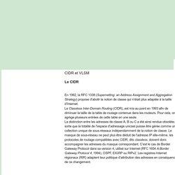 Réseaux et Sécurité Informatique: CIDR et VLSM